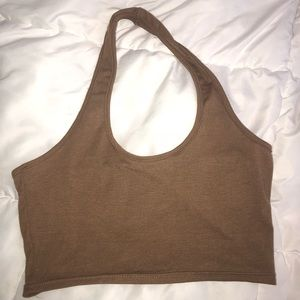 Brown Crop Halter Top